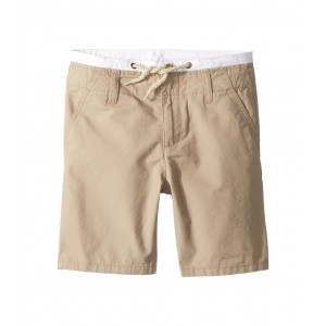 Double Waistband Flat Front Shorts (Toddler/Little Kids/Big Kids) Khaki