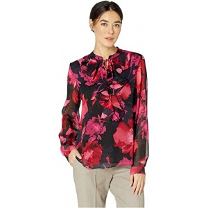 Floral Ruffle Front Long Sleeve Woven Top Scarlet Multi