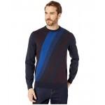 Perry Ellis Bold Stripe Long Sleeve Sweater Dark Sapphire