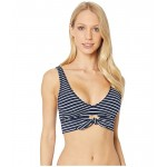 Robin Piccone Sailor Scoop Neck Top wu002F Front Tie Navy/White