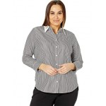 LAUREN Ralph Lauren Plus Size Pinstripe Cotton Shirt Black/White