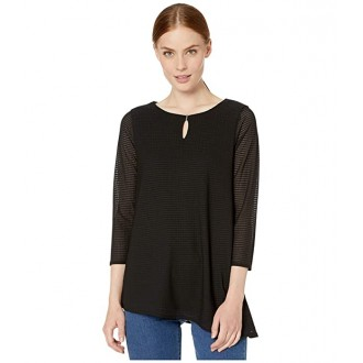 Calvin Klein Long Sleeve Textured Top with Angle Bottom Black