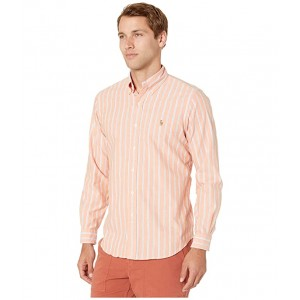 Long Sleeve Classic Fit Striped Oxford Shirt Orange/White