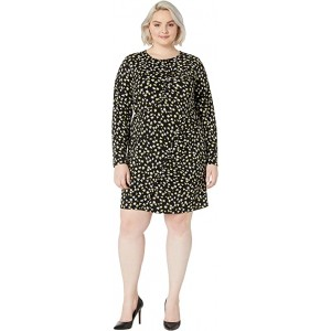 Plus Size Tossed Lilies Ruffle Dress
