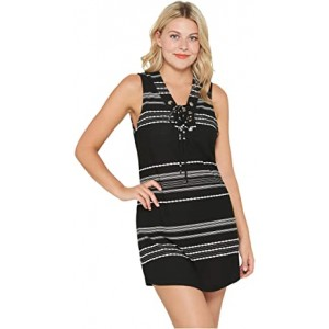 Dahlia Stripe Lace-Up Front Tank Dress Cover-Up Black/White