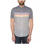 Original Penguin Engineered Stripe Rainbow Short Sleeve Button-Down Shirt Dark Sapphire