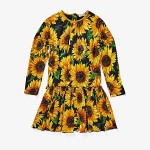 Dolce & Gabbana Kids Sunflower Print Modal Dress (Big Kids) Nero
