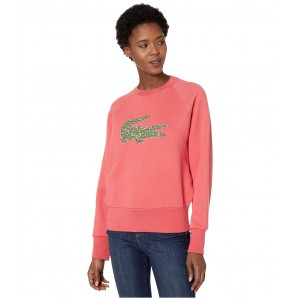 Long Sleeve All Over Croc Brush Fleeced Sweatshirt Sierra Red