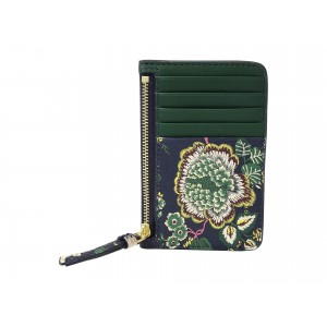 Floral Tassel Top Zip Card Case Navy Small Happy Times