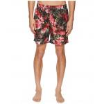Mid Length Roseto Swimsuit Boxer w/ Bag Green Roseto Print