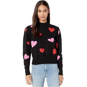 Hearts Mock Neck Sweater Black