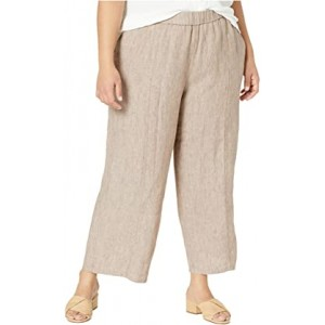 Plus Size Washed Organic Linen Delave Pull-On Cropped Pants Khaki