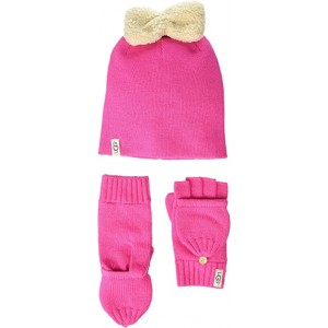 Knit Hat with Bow and Flip Mitt Gift Set (Toddler/Little Kids)