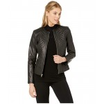 Jewel Neck Zip Front Multi Quilted Jacket with Zipper Pockets