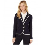 Piped Knit Two-Button Sweater Blazer Midnight/Ivory