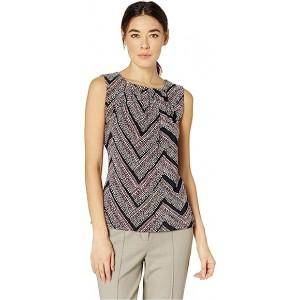 Printed Bead Neck Knit Top Seash Multi