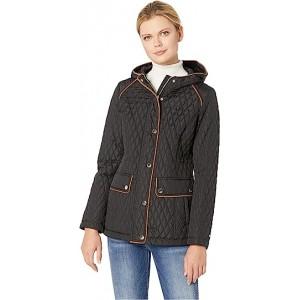 Hooded Quilt Double Pocket Jacket Black