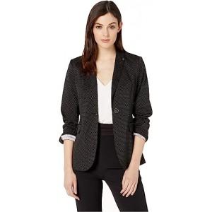 Pindot One-Button Jacket Black/Ivory