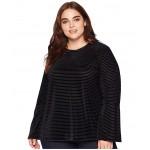 Plus Size Velvet Stripe Flare Sleeve Top Black