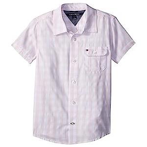 Short Sleeve Ryan Yarn-Dye Plaid Shirt (Toddler/Little Kids) Crystal Rose