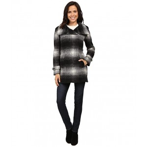 Plaid Wool with Zip Closure and Sleeve Detail Plaid