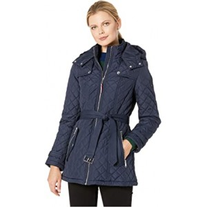 Belted Quilted Coat Navy