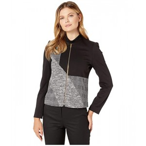 Center Zip Ponte Combo Jacket