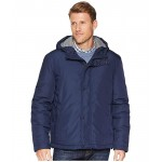 Cole Haan Light Oxford Poly 28 Zip Front Jacket with Attached Hood Navy
