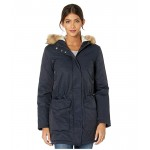 Coated Cotton Parka with Sherpa and Faux Fur Hood