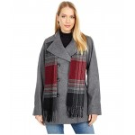 Double Breasted Short Wool Coat w/ Scarf