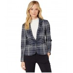 Plaid One-Button Sweatshirt Jacket Midnight/Ivory
