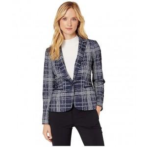 Plaid One-Button Sweatshirt Jacket Midnight/Ivory