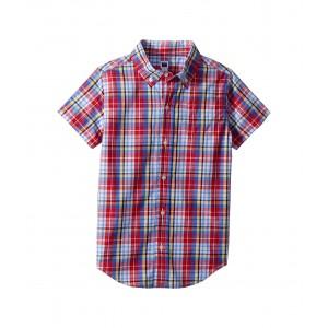 Short Sleeve Button Up Shirt (Toddler/Little Kids/Big Kids) Red Navy Plaid