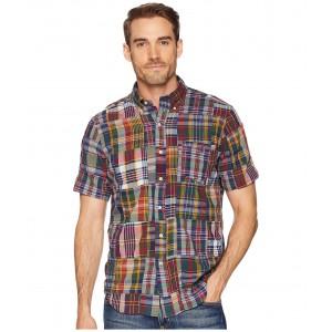 Indigo Chambray Short Sleeve Pocket Button Down Sport Shirt Dark Bleeder Patchwork
