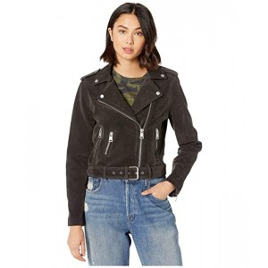 Faux Suede Moto Jacket with Belt