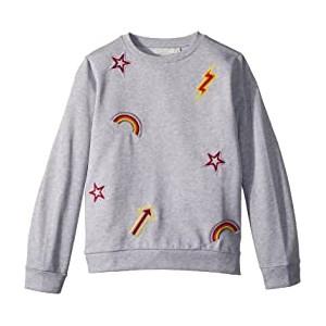 Betty Sweatshirt w/ Rainbow and Arrow Patches (Toddler/Little Kids/Big Kids) Grey