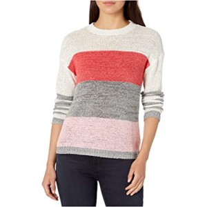 Tickled Pink Tape Yarn Color-Blocked Sweater Cashmere Rose