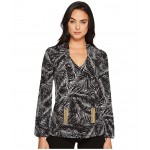 Abstract Palm Long Sleeve Tie Top Black/White