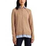 LAUREN Ralph Lauren Layered Cotton Sweater Classic Camel