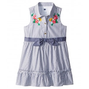 Blue Stripe Shirtdress (Toddler/Little Kids/Big Kids) Floral Stripe