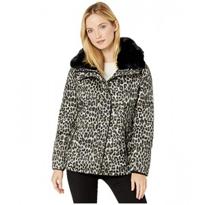 Print Jacket with Faux Fur Collar M424303TZ