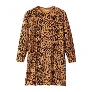 Basic Leopard Long Sleeve Dress (Infant/Toddler/Little Kids/Big Kids) Beige
