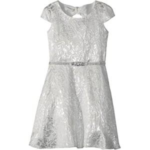 Cap Sleeve Bow Back Silver Brocade Dress (Big Kids) Silver