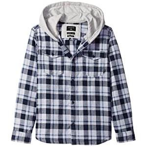 Snap Up Long Sleeve Hooded Shirt (Big Kids)