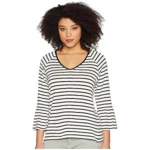Stripe V-Neck with Flare Sleeve White/Black