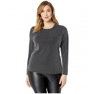 Plus Size High Neck Fitted Long Sleeve Black/Silver