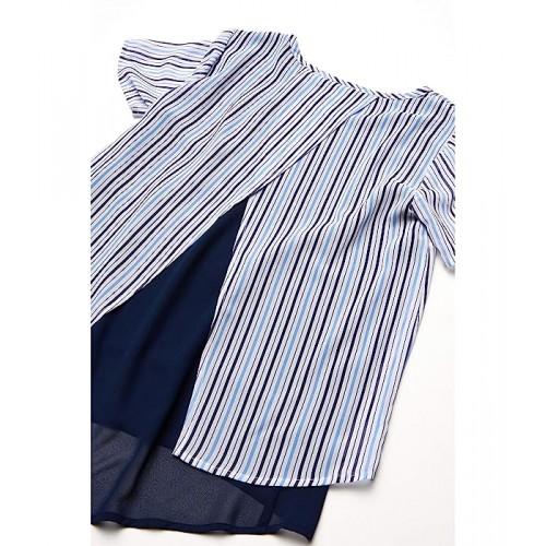 마이클 코어스 Petite Airy Hampton Stripe Short Sleeve Top