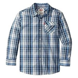 Long Sleeve One-Pocket Plaid Shirt (Big Kids) Moonlight Blue