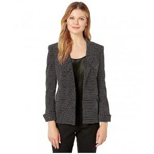 Open Dot Texture Cuffed Jacket Black/White