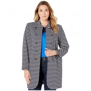 Plus Size Long Band Jacket Sky Captain/Brght White